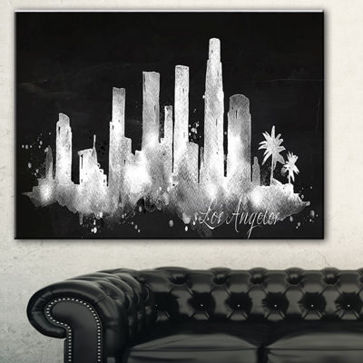 Designart Los Angeles Dark Silhouette Cityscape Painting Canvas Print