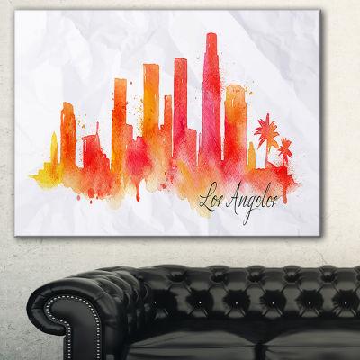 Design Art Los Angeles Silhouette Cityscape Painting Canvas Print - 3 Panels
