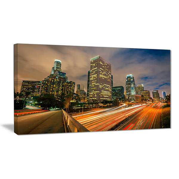 Designart Los Angeles Yellow Skyline Night Cityscape Canvas Print