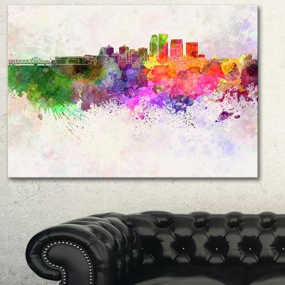 Designart Louisville Skyline Cityscape Canvas Artwork Print