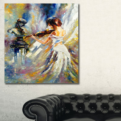 Designart Love With Endless Music Abstract CanvasArt Print