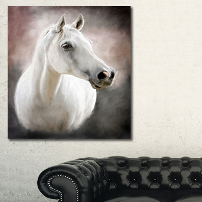 Designart Lovely White Horse Animal Art On Canvas-3 Panels