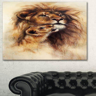 Designart Loving Lioness Animal Art Painting - 3Panels