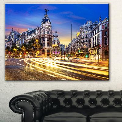 Designart Madrid City Center Cityscape PhotographyCanvas Print - 3 Panels