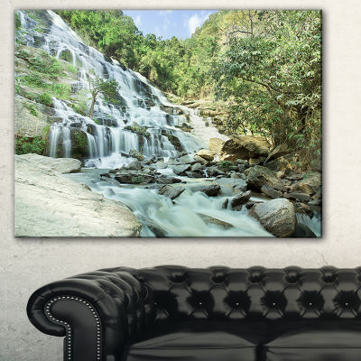 Designart Maeyar Waterfall In Rain Landscape Photography Canvas Print - 3 Panels