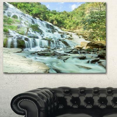 Designart Maeyar Waterfall Landscape PhotographyCanvas Art Print - 3 Panels