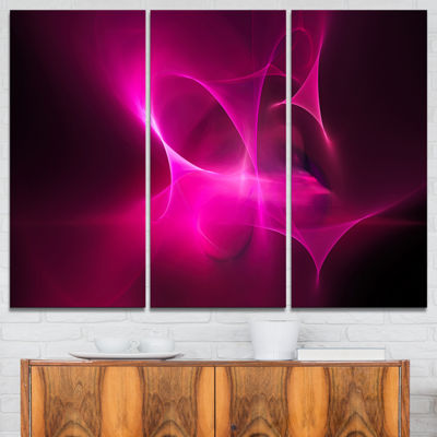 Designart Magenta Fractal Desktop Abstract CanvasArt Print - 3 Panels