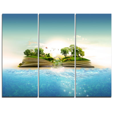 Designart Magical Book About Nature ContemporaryCanvas Art Print - 3 Panels