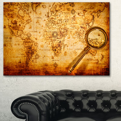 Designart Magnifying Glass On World Map Abstract Canvas Art Print