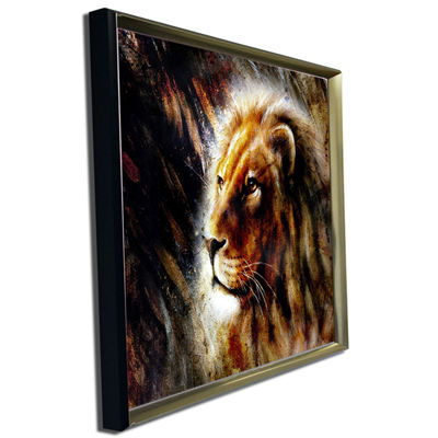 Designart Majestically Peaceful Lion Animal Art Painting