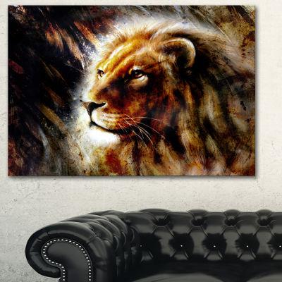 Design Art Majestically Peaceful Lion Animal Art Painting - 3 Panels