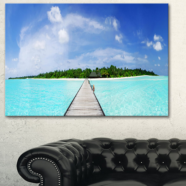 Designart Maldives Panorama Seascape Photography Canvas Art Print