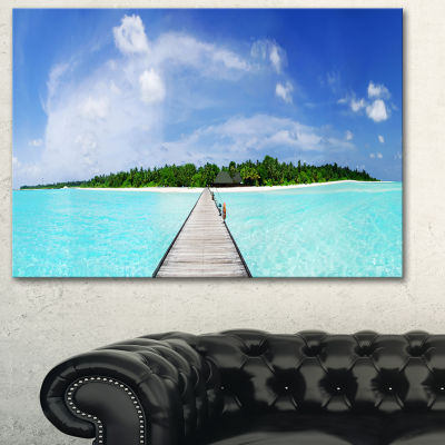 Designart Maldives Panorama Seascape PhotographyCanvas Art Print - 3 Panels