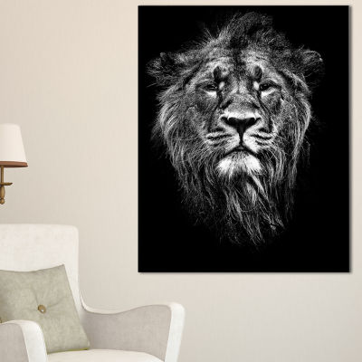 Designart Male Asiatic Lion Animal Canvas Art Print - 3 Panels