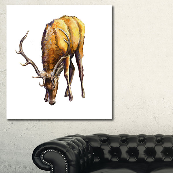 Designart Male Deer Illustration Art Animal CanvasArt Print - 3 Panels