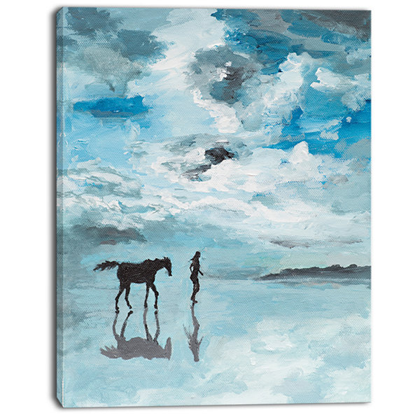 Designart Man And Horse Running On Water SeascapeCanvas Art Print
