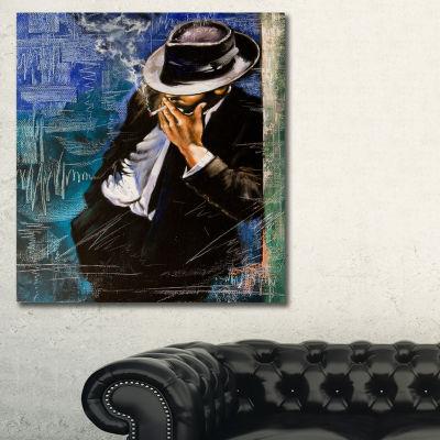 Designart Man With Cigarette Portrait Canvas ArtPrint - 3 Panels