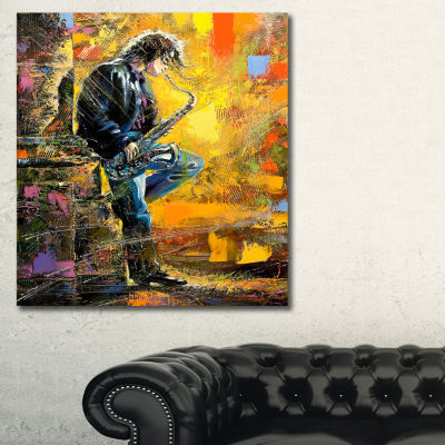 Designart Man With Saxophone Contemporary CanvasArtwork - 3 Panels