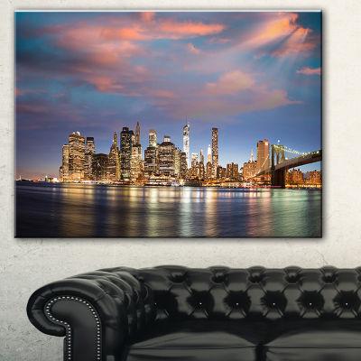 Designart Manhattan At Nighttime Cityscape Photography Canvas Print