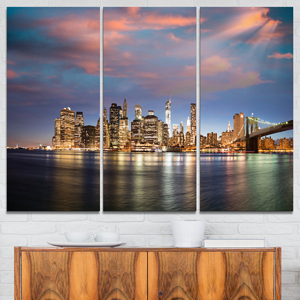 Designart Manhattan At Nighttime Cityscape Photography Canvas Print - 3 Panels