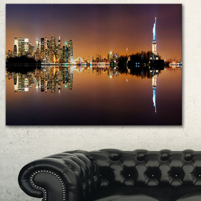 Designart Manhattan City Panorama Cityscape Photography Canvas Print