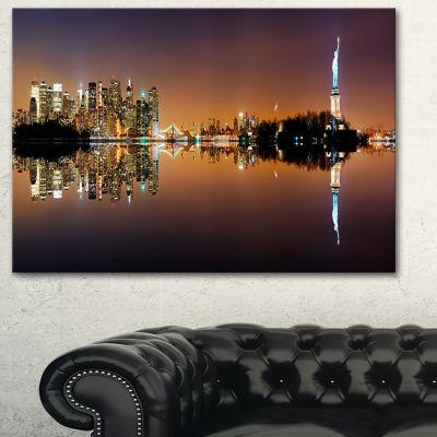 Designart Manhattan City Panorama Cityscape Photography Canvas Print - 3 Panels