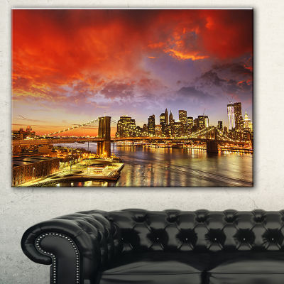 Design Art Manhattan Skyline At Winter Cityscape Photo Canvas Print - 3 Panels