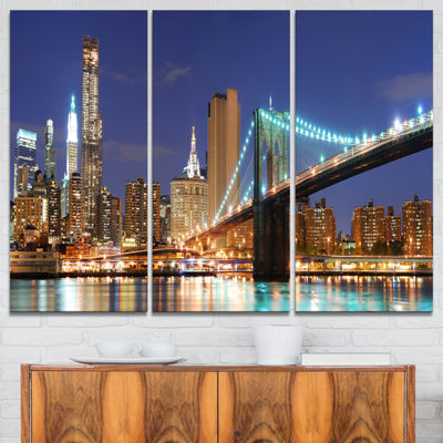 Designart Manhattan Skyline Panorama Cityscape Photo Canvas Print - 3 Panels