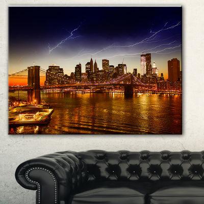Designart Manhattan Sunset On East River CityscapePhoto Canvas Print - 3 Panels