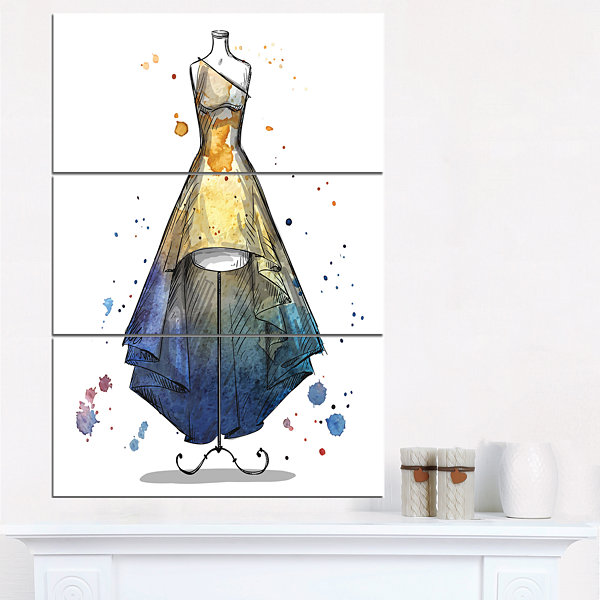Design Art Mannequin With Long Dress Abstract Canvas Art Print - 3 Panels
