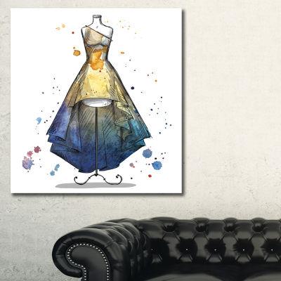 Designart Mannequin With Long Dress Abstract Canvas Art Print - 3 Panels