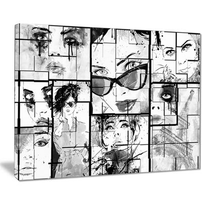 Designart Many Girl Faces Collage Abstract Portrait Canvas Print