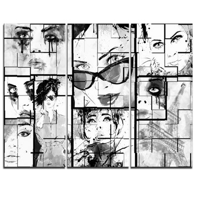 Designart Many Girl Faces Collage Abstract Portrait Canvas Print - 3 Panels