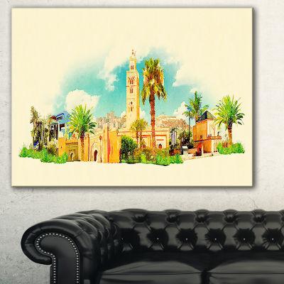 Designart Marakesh Panoramic View Cityscape Watercolor Canvas Print - 3 Panels