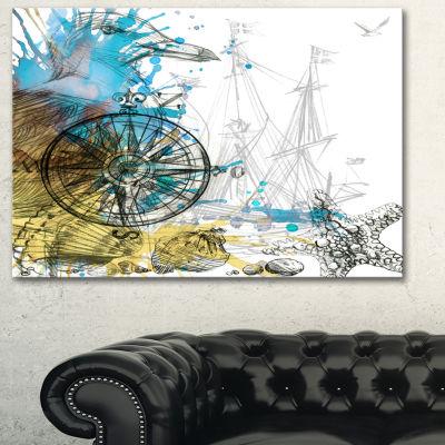 Designart Marine Background Illustration Art Animal Canvas Art Print