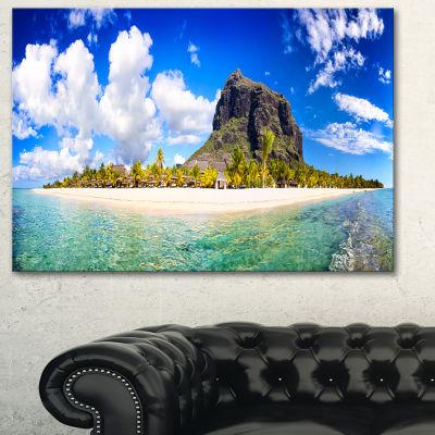 Design Art Mauritius Beach Panorama Photography Canvas Art Print - 3 Panels