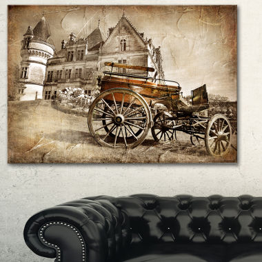 Designart Medieval Castle With Carriage Contemporary Canvas Art Print