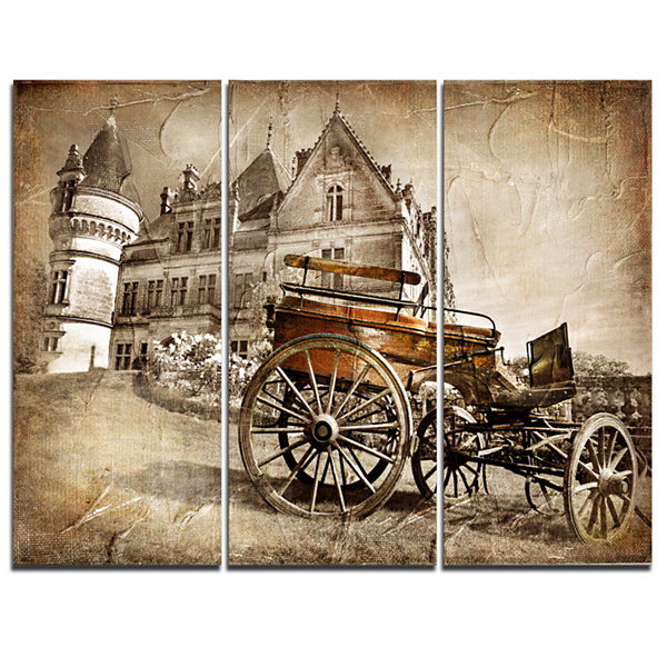 Designart Medieval Castle With Carriage Contemporary Canvas Art Print - 3 Panels