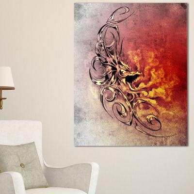 Designart Medieval Dragon Tattoo Sketch Abstract Print On Canvas