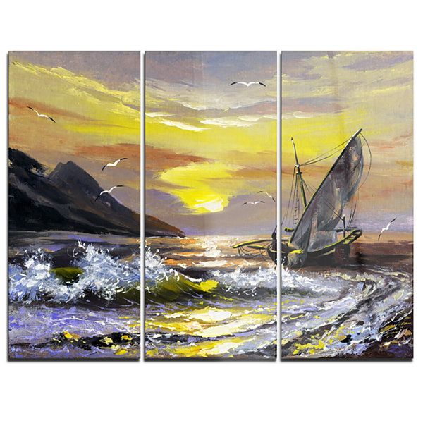 Designart Meet You Soon Seascape Canvas Art Print-3 Panels