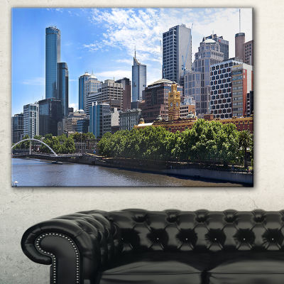 Designart Melbourne City Victoria Cityscape Photography Canvas Art Print