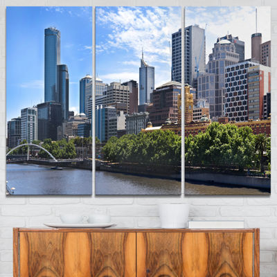 Designart Melbourne City Victoria Cityscape Photography Canvas Art Print - 3 Panels