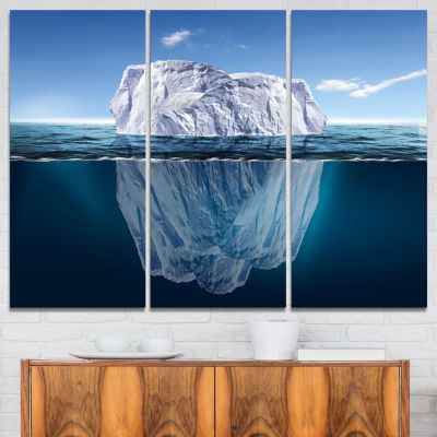 Designart Melting Iceberg Seascape Photography Canvas Art Print - 3 Panels