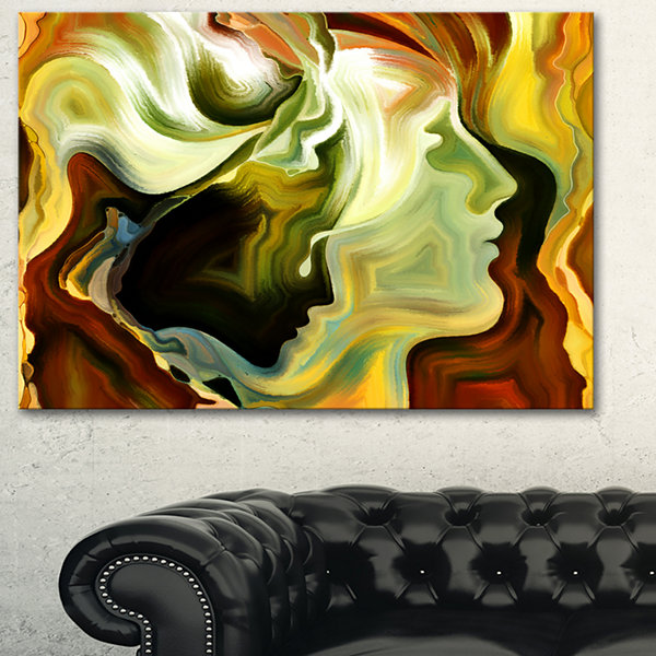 Designart Metaphorical Inner Self Abstract CanvasArt Print - 3 Panels