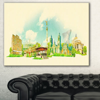 Designart Mexico City Panoramic View Cityscape Watercolor Canvas Print