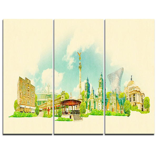 Design Art Mexico City Panoramic View Cityscape Watercolor Canvas Print - 3 Panels