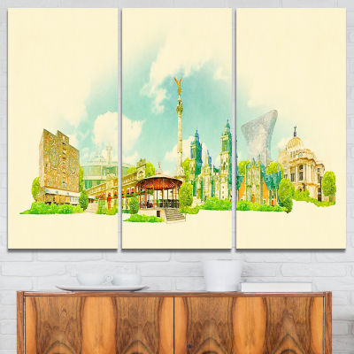 Designart Mexico City Panoramic View Cityscape Watercolor Canvas Print - 3 Panels