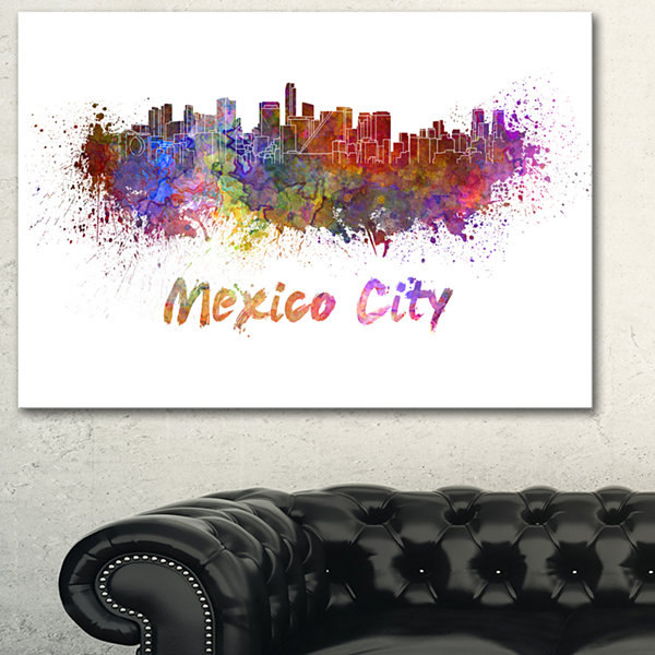Designart Mexico City Skyline Cityscape Canvas Print