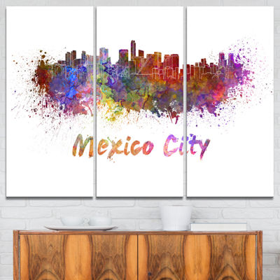 Designart Mexico City Skyline Cityscape Canvas Print - 3 Panels