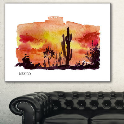 Designart Mexico Vector Illustration Cityscape Painting Canvas Print